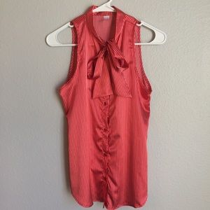 American Apparel Red & White Satin Top